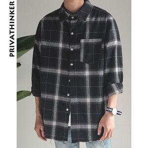 Image 4 - Privathinker Plaid Shirts Oversized Long Sleeve Shirt Men Women Casual Plaid Flannel Burr Shirts Harajuku Male Strip Shirts