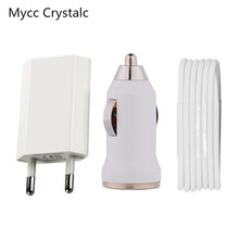 Mycc Crystalc 3pcs/lot Accessories EU Plug Wall Charger Adapter + USB Data Cable+ Car charger for iPhone 5 5s 5c SE 6 6s 7 Plus