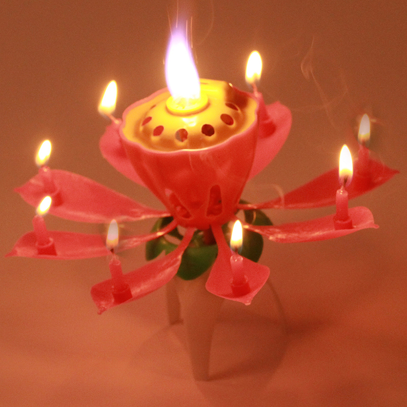 New 1PC Lot Beautiful Blossom Lotus Flower Candle Birthday Party Cake Music Sparkle Topper Rotating PC670976 In Candles From Home Garden On