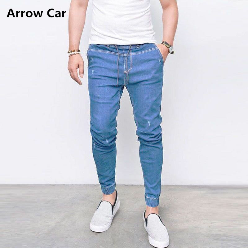 Summer Spring Casual Slim Jeans Mens Skinny Hip Hop D Pencil Pants Brands Fit Slim Trousers Elastic Waist Male Pantalones