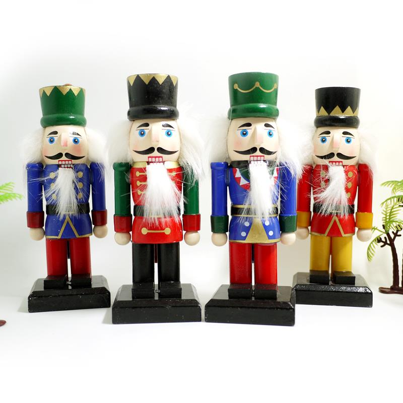 HT032 Free shipping Movable doll puppets 15CM thick wooden nutcracker soldier puppet doll novelty Christmas gift 4pcs/lot