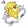 YaYI Moda Mulheres Jóias Anel 5CT Topázio CZ Diamante Platinum Branco Banhado A Ouro Anéis de Noivado Anéis de casamento Anéis Partido Presente