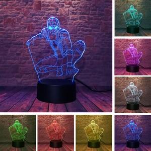 Image 4 - 5 Different Superhero Man Figure Spiderman 3D Lamp 7 Color Led Gradient Night Light Kids Lampara Sleeping Creative Festival Gift