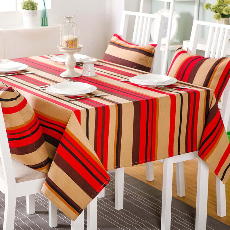 9 Designs Cotton Thick Canvas Tablecloth Multicolor Striped Design Home Textile Dining Table Cover Free Shipping In Tablecloths From