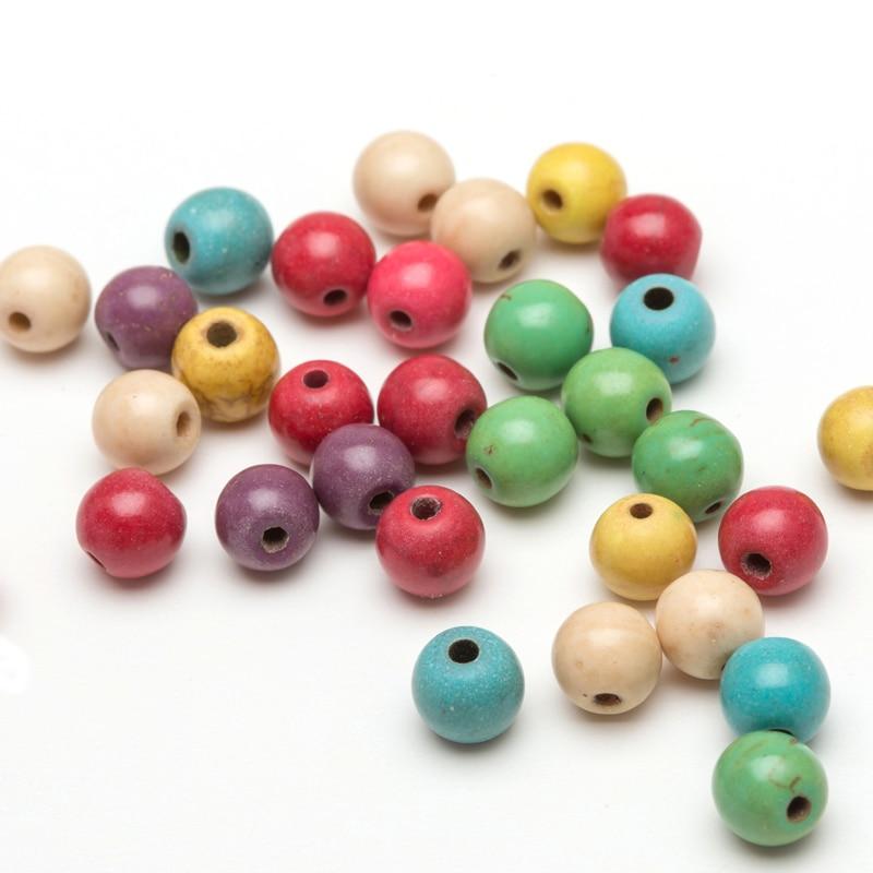 50 100 יחידות עגול Loose Spacer חרוזים אבן טבעית להכנת תכשיטים סיטונאי אביזרי שרשרת צמיד מתנה