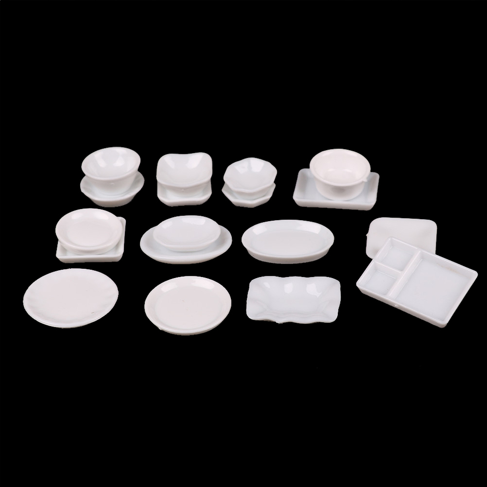 25x 1:12 Dollhouse Miniature Dish DIY Tableware Mini Kitchen Mini Food Plate IJ