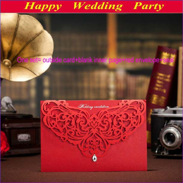 Red korean design wedding invitations laser cut 2014 diamond red korean design wedding invitations laser cut 2014 diamond invitation card sample wedding decoration with envelope stopboris