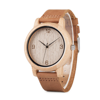 BOBO BIRD L09 Bamboo Wood Casual Watches For Men Number Dialplate Genuine Leather Strap Japan Quartz