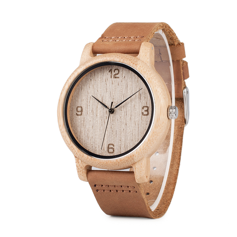BOBO BIRD L09 Bamboo Wood Watch For Men Quartz Leather Band Wrist Watches Drop Shipping