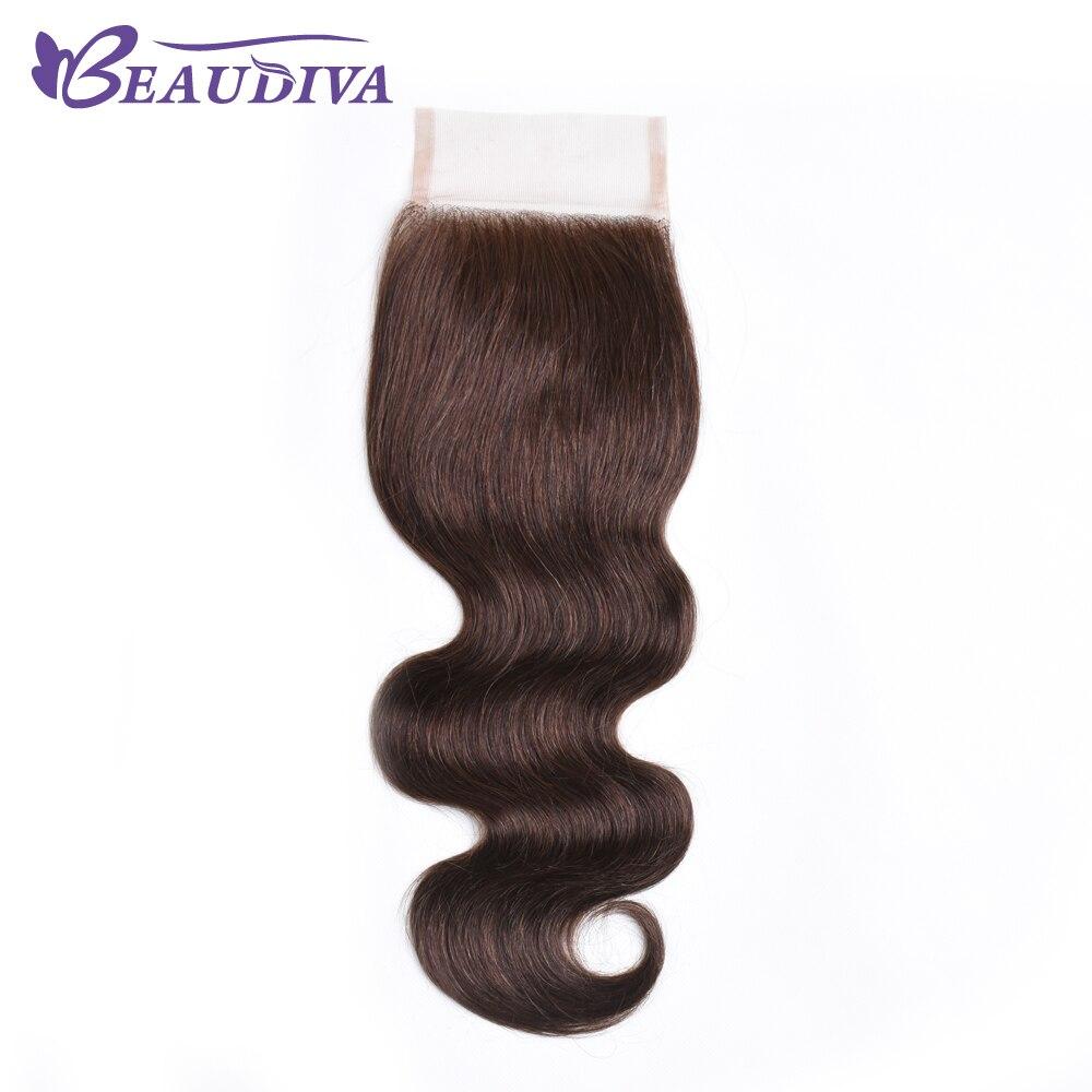 Beaudiva волосы Волосы Remy Синтетическое закрытие шнурка волос Средства ухода за кожей волна #4 цвета волос Синтетическое закрытие волос 4x4 Беспл... ...
