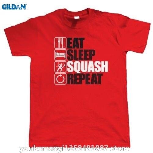 GILDAN Eat Sleep Squash Repeat, Mens Funny, Sporting T Shirt, Birthday Gift Dad Funny Casual O Neck Cheap Sale 1