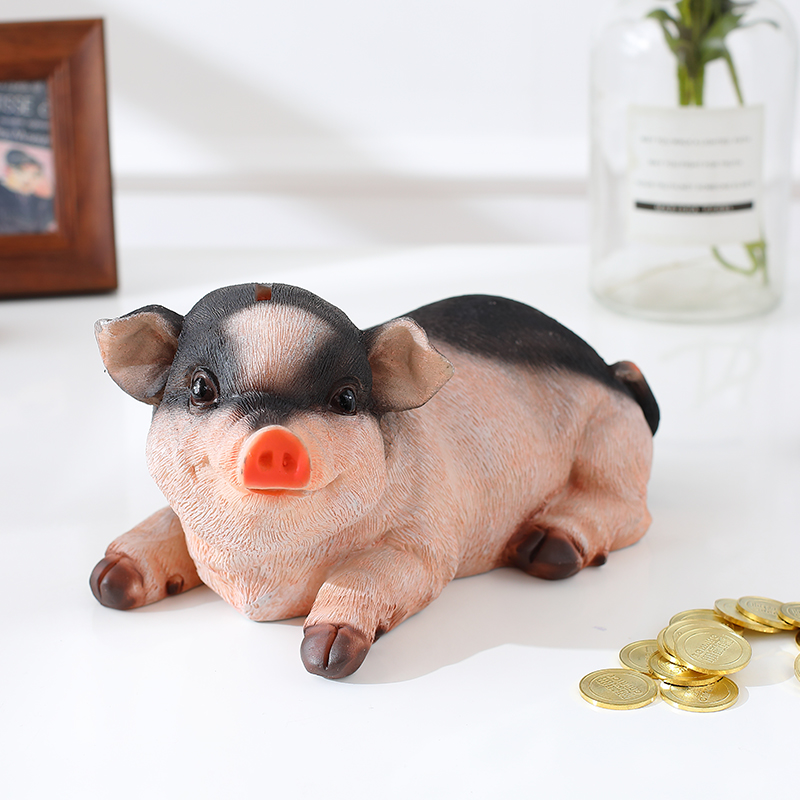 piggy bank pig coins money box home ornaments tirelire hucha coin saving safe home decoration acessories resin decor box bj xz in money boxes from home