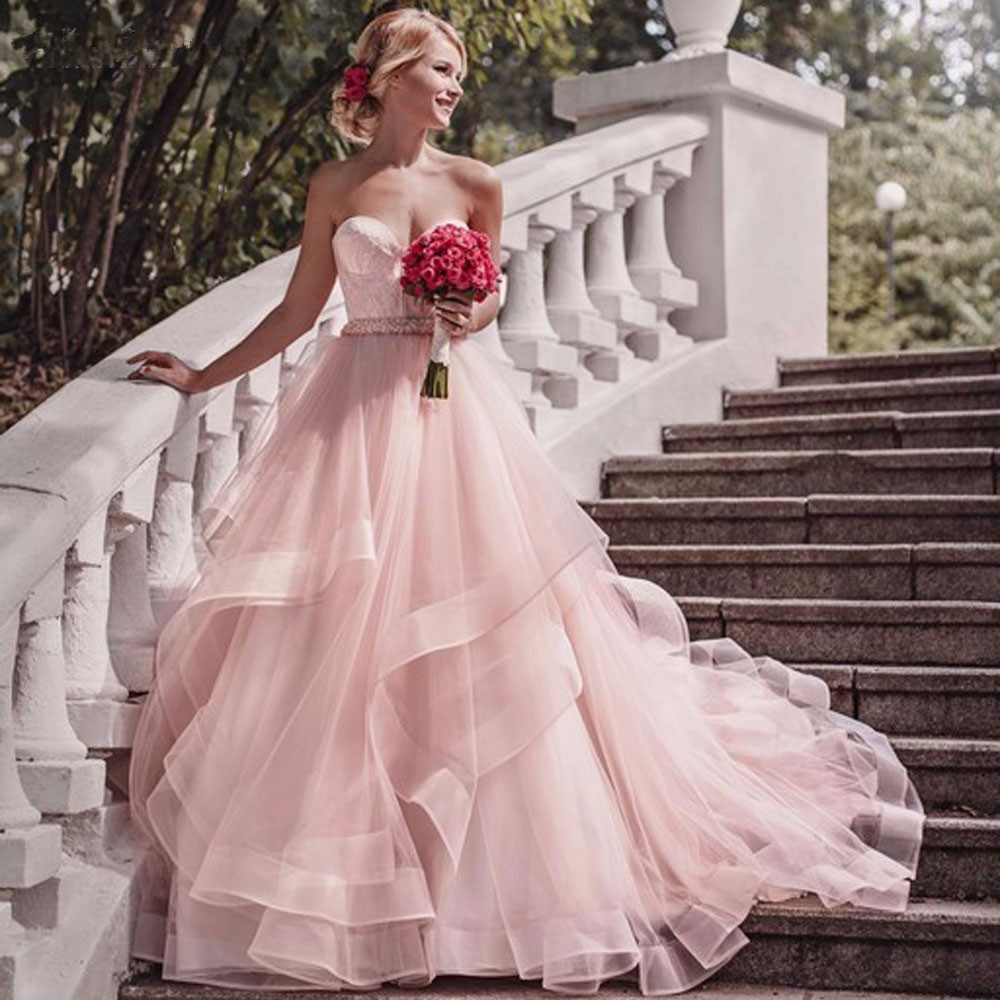 Vintage Pink Flowers Wedding Dress 2016 Sexy Off Shoulde