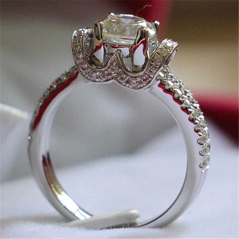 私と結婚jewleryスタイル1ctラウンドカット合成ダイヤモンドリング婚約女性ウェディングリング925スターリングシルバー卸売リング