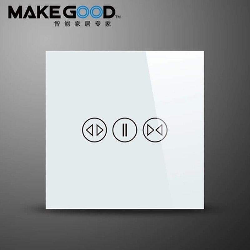 Commutateur de rideau de panneau en verre d'écran tactile Standard de MakeGood EU, commutateur de mur utilisé pour des rideaux électriques ou le volet roulant