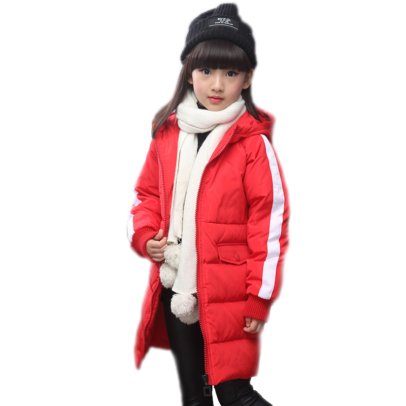 2018 Hooded Grls Winter Coats Long Duck Down Winter Jackets for Girls Thick Warm Down Teenage Winter Jacket Children Clothing mmc brand children s winter thick warm brief style gradient splice high quality hooded down coats for girls 90