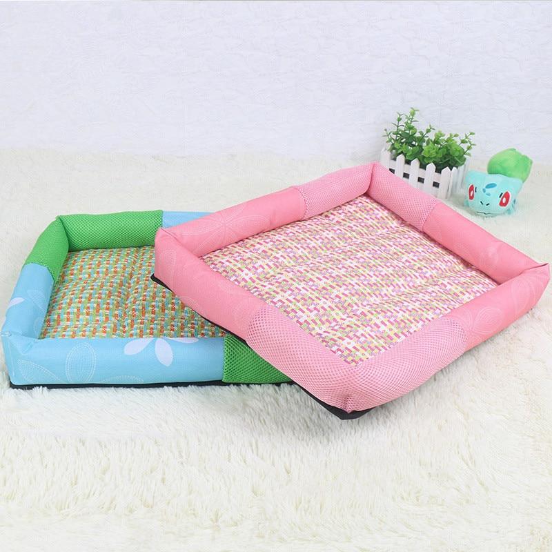 fine joy Pet Dog Bed Summer Cool Soft Material Pink Green For Pet Dog Cat Puppy Warm Nest Kennel