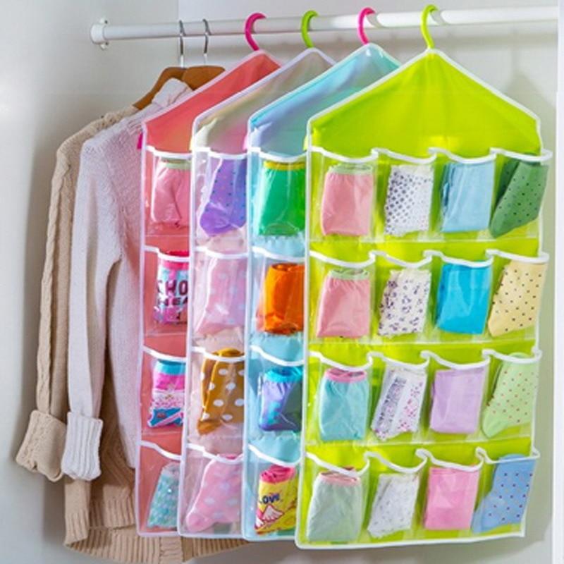 16 Grid Wardrobe Hanging Organizer Underwear Bras Socks Ties Door Hanging Bag Shoe Rack Storage Bag Saving Space Tidy Organizer