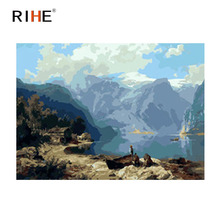 RIHE Mountain Lake Diy Painting By Numbers Abstract Sky Oil On Canvas Cuadros Decoracion Acrylic Wall Picture For Room
