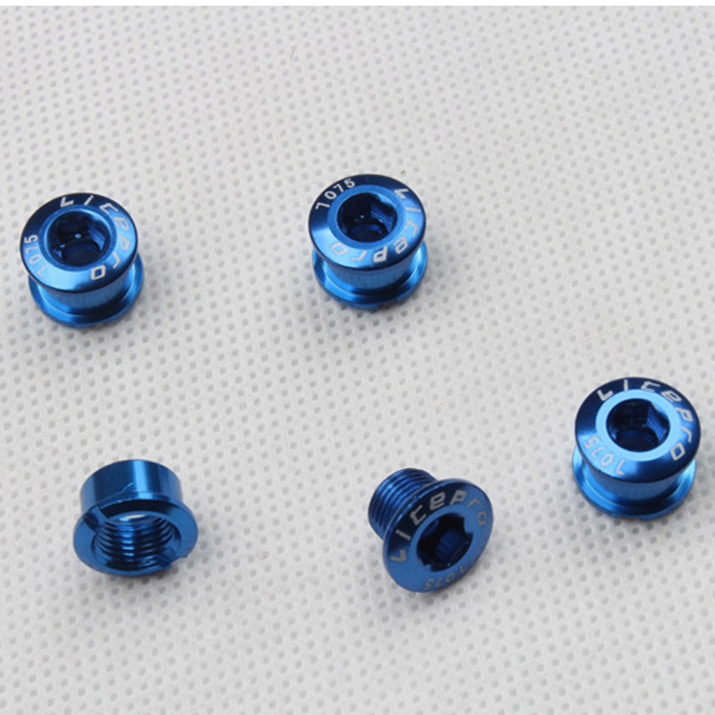 5pcs Super Light 7075 T6 Alloy CNC Anodised Single Crank Chain Ring Bolts Hot