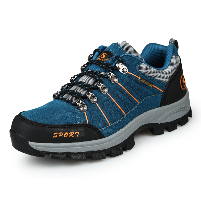 ФОТО 2016 Outdoor Hiking Boots Men Blue Mountain Sneakers Big Size Winter Trekking Boots Brown Hiking Sneakers Leather Walking Shoes