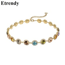 2019 New Colorful Crystal Necklace For Women Delicate Fashion Choker Collares