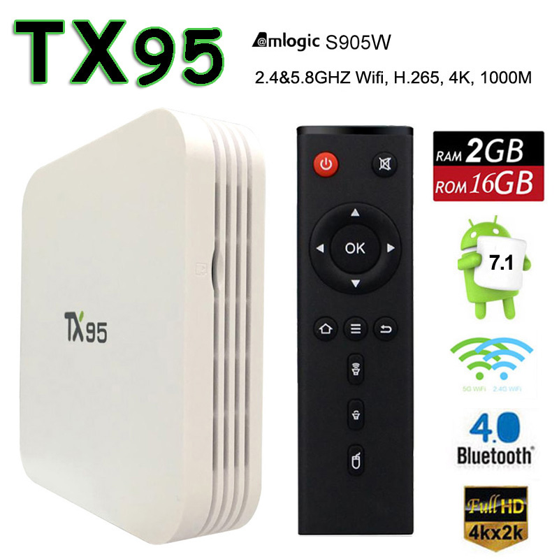 DHL Amlogic S905W Android 7.1 TV Box 2GB RAM 16GB ROM TX95 Smart Mini PC 4K Media Player ...