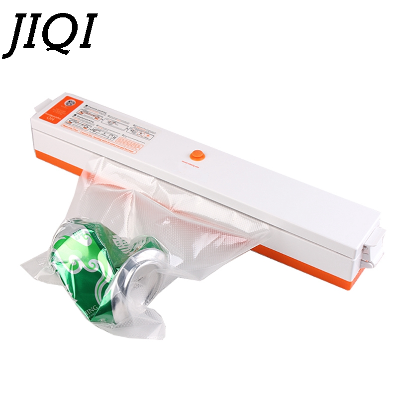 JIQI MINI Vacuum sealer Electric food sealing machine plastic packaging Film packer for sausage coffee with Bags 110V 220V EU US automatic continuous plastic film sealing machine for food cosmetic potato chips dbf 1000 110v 60hz