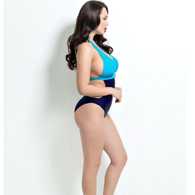 Deep V Bodysuit Women Patchwork Plus Size Swimwear