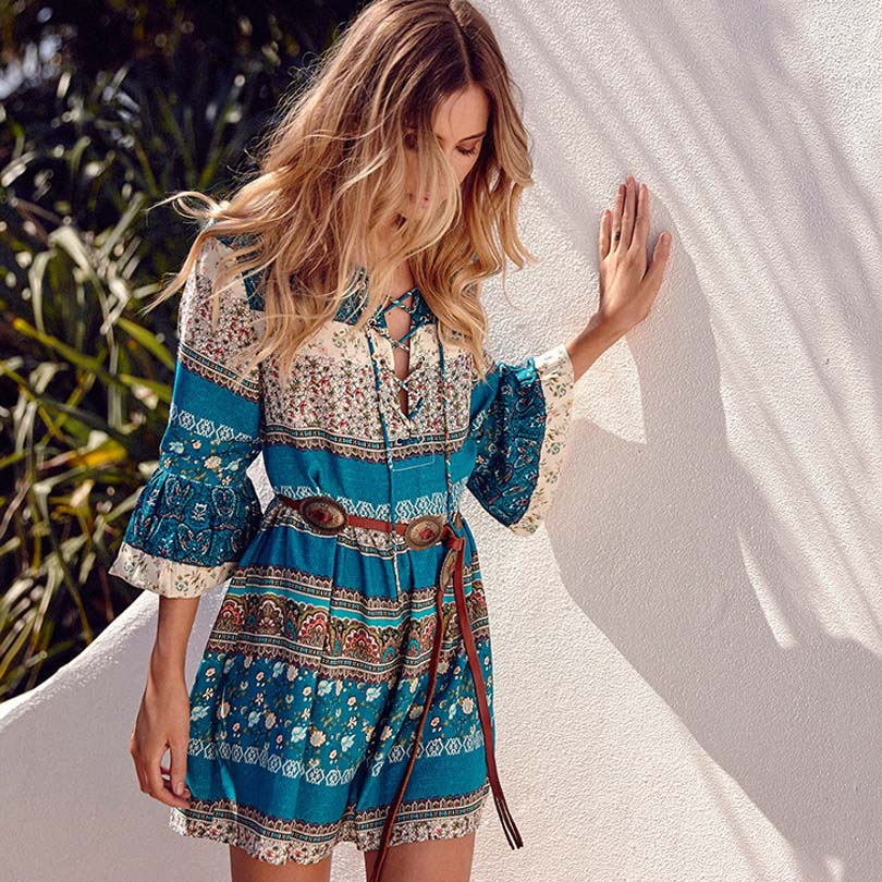 HTB1JcqvmLDH8KJjy1Xcq6ApdXXad - Spring NEW Boho Dress Chic Floral Print Mini Dresses V-neck Hippie Women Dresses 2018 Casual Bohemia Brand Clothing XXL with Belt