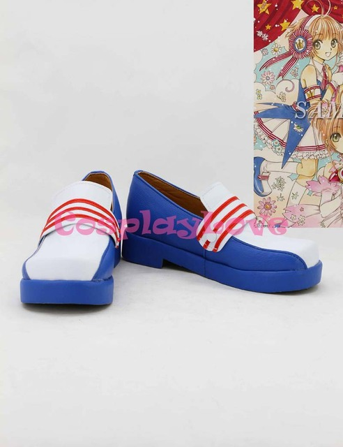 SAKURA KINOMOTO Cosplay Shoes Boots Custom Made white&blue