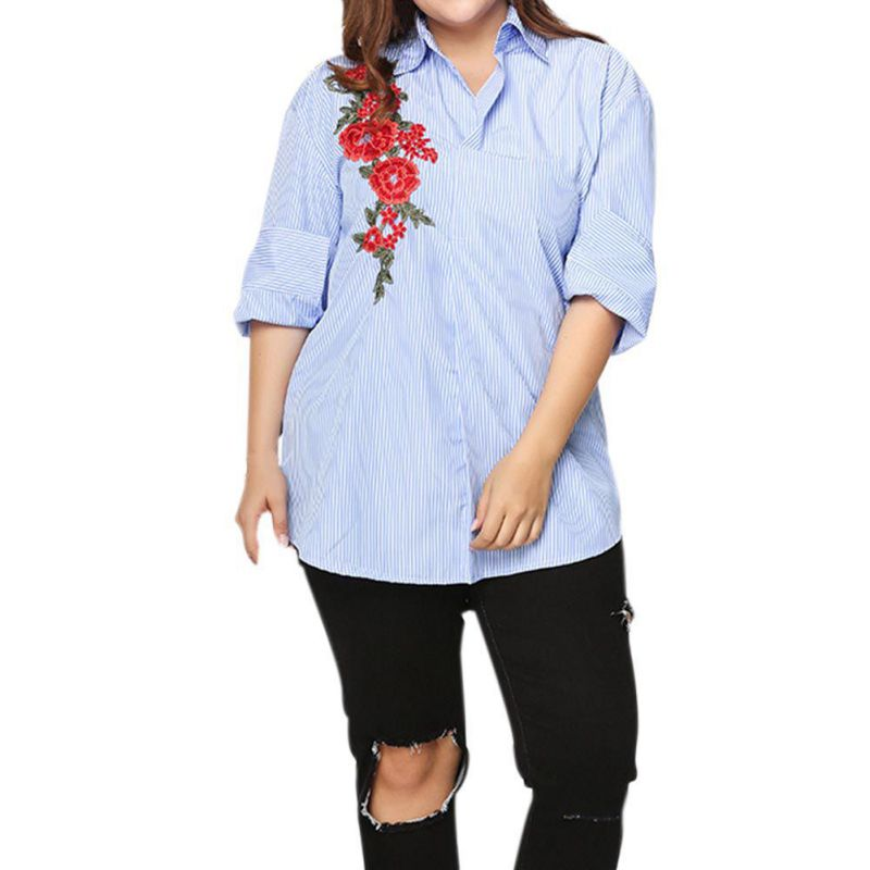 White Rose Embroidery Blouse Shirt Women Long Sleeves shirt Original Design Striped Button Down Floral Blouses