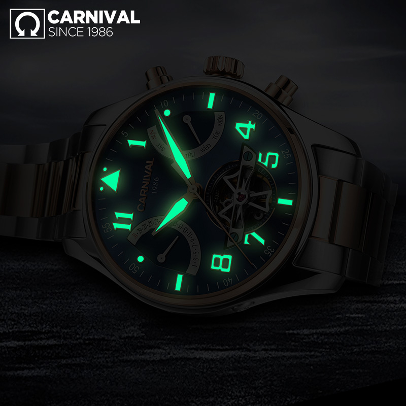 лучшая цена Carnival Watch Men tourbillon Automatic Mechanical Luminous All Black Stainless Steel Waterproof multifunction Watches