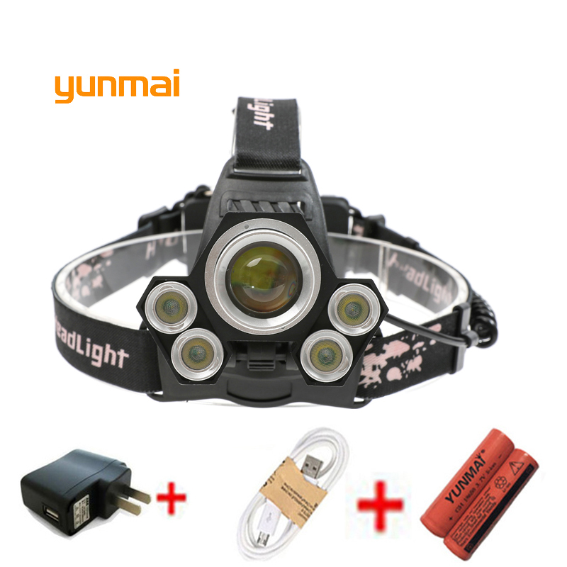 USB 15000 Lumen 5 Led Headlamp XML T6+4*XPE Head Lamp Powerful Led Headlight Head Torch 18650 Rechargeable Fishing Hunting Light 8000lm usb rechargeable head lamp torch xml t6 cob led white red light headlamp frontal led running headlight usb cable by 18650