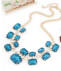 Free shipping Discount 2018 new jewelry European style multicolor hip luxury noble gem metal short female fashion necklace women