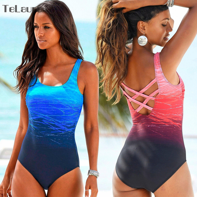 5287b916a 2017 One Piece Swimsuit Women Swimwear Bandage Vintage Beach Wear Solid  Bathing Suit Monokini Retro Swimsuit