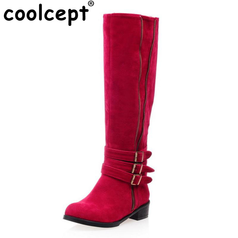 Coolcept Size 33-43 Women High Heel Knee Boots Metal Buckle Zipper Fashion Long Boots Warm Shoes For Cold Winter Woman Footwear