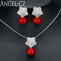 Romantic CZ Simulated Diamond Jewelry Conncet High Quality Red Big Pearl Pendant Necklace Set For Women