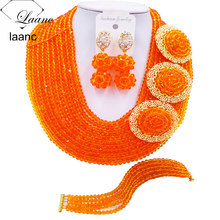 Brand Laanc African Wedding Beads Necklace Orange Crystal Nigerian Beaded Jewelry Set 10R3H014 aczuv brand opaque red african jewelry set nigerian wedding beads art005