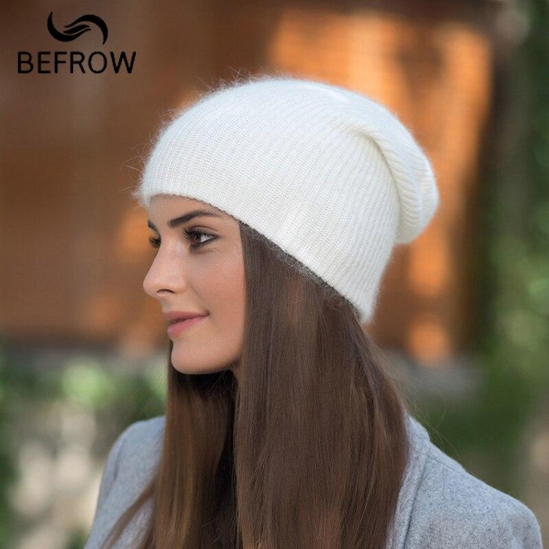 BEFORW 2018 vino rojo blanco azul café gris de piel de conejo sombrero de las mujeres de invierno de punto de lana sombrero de otoño damas