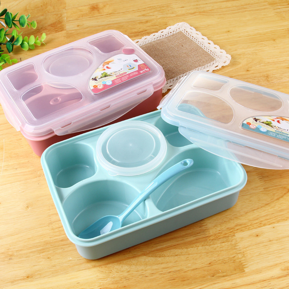 Magic Kitchen Sealed Microwaveable Bento Lunch Set Microwave For Kids Adult Office 5+1 Food Container Storage Box KC1309 ...