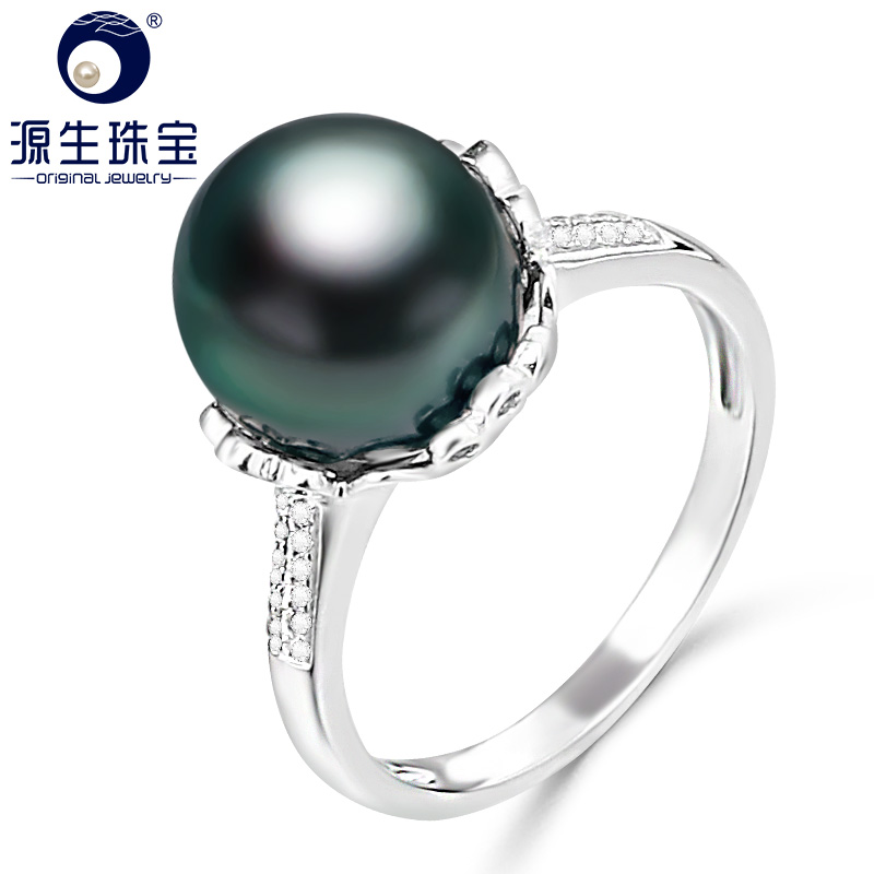 YS 10 11mm Natural Black Tahitian Cultured Pearl Ring 925 Sterlng Silver Ring Fine Jewelry
