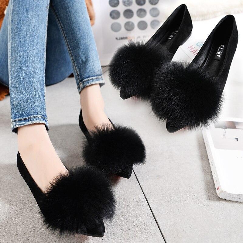 Scoop Fourrure Pointu Sauvage Paresseux Renard Peas Chaussures De Plates 2018 La Coréenne Femmes Nouvelle Version kaki Noir Axq7z