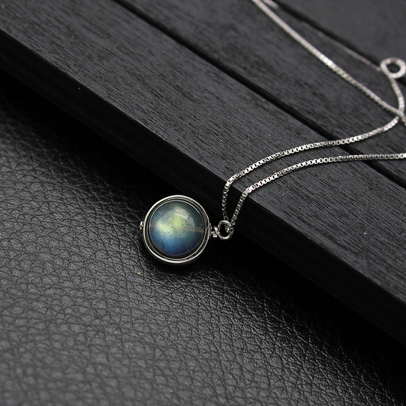 Genuine S925 Sterling Silver Labradorite Pendant Necklace For Women Fine Jewelry Nature Gemstone Handmade bijoux femme 9