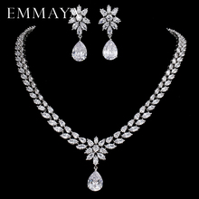 EMMAYA Romantic Trendy Set Jewelry Flower Design Water Drop CZ Wedding Jewelry Sets For Brides Silver color Jewelry