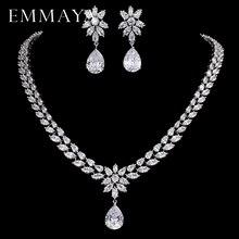 EMMAYA conjunto romántico de joyería con diseño de flores, gota de agua CZ, conjuntos de joyas para novias, joyería de color plateado