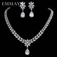 EMMAYA Romantic Trendy Set Jewelry Flower Design Water Drop CZ Wedding Jewelry Sets For Brides Silver