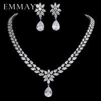 EMMAYA Romantic Trendy Set Jewelry Flower Design Water Drop CZ Wedding Jewelry Sets For Brides Silver