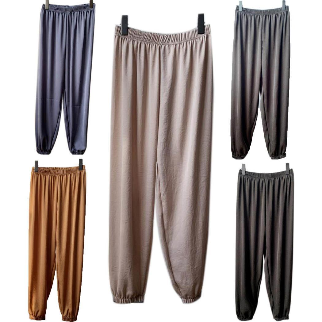 Harem Trousers Capris-Pants Lantern Waist Calf-Length Summer Casual Women Solid Mid Loose