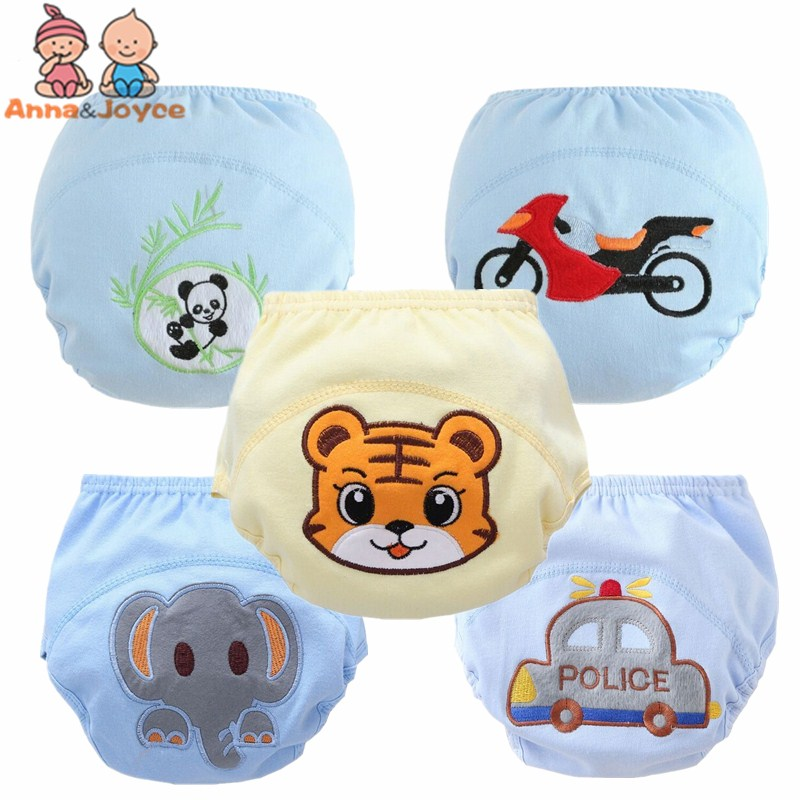 5Pcs/lot  Baby Boy Training Pants/Child Cloth Study Pants/Reusable Nappy Cover/Washable Diapers Size 100 Suit 12-16kg